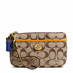 COACH F49175 Park Signature Medium Wristlet BRASS/KHAKI/ORANGE SPICE
