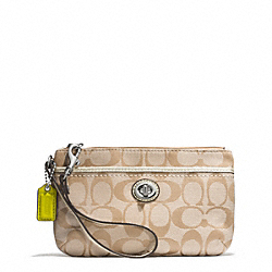 COACH F49175 Park Signature Medium Wristlet SILVER/LIGHT KHAKI/PEARL