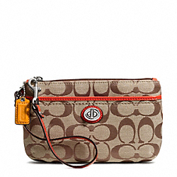 COACH F49175 Park Signature Medium Wristlet SILVER/KHAKI/VERMILLION