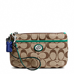 COACH F49175 Park Signature Medium Wristlet SILVER/KHAKI/BRIGHT JADE