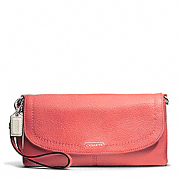 COACH F49177 Park Leather Large Flap Wristlet SILVER/TEAROSE
