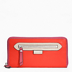 COACH F49184 Daisy Spectator Leather Accordian Zip SILVER/VERMILLION MULTICOLOR