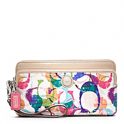 COACH F49200 Poppy Stamped C Double Zip Wallet