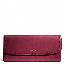 COACH F49229 Leather New Soft Wallet BRASS/DEEP PORT