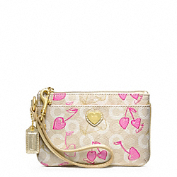 COACH F49240 Waverly Cherry Small Wristlet BRASS/KHAKI/PINK