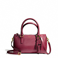 COACH F49292 Leather Mini Satchel BRASS/DEEP PORT