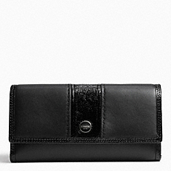 COACH F49301 Signature Stripe Leather Checkbook Wallet