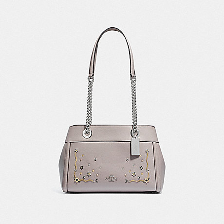 COACH F49304 BROOKE CHAIN CARRYALL WITH STARDUST CRYSTAL RIVETS<br>蔻驰布鲁克链包用星尘结晶铆钉 灰色桦多银