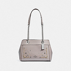 BROOKE CHAIN CARRYALL WITH STARDUST CRYSTAL RIVETS - F49304 - GREY BIRCH MULTI/SILVER