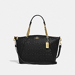 SMALL KELSEY CHAIN SATCHEL IN SIGNATURE LEATHER - F49317 - BLACK/IMITATION GOLD