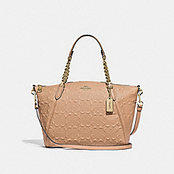 SMALL KELSEY CHAIN SATCHEL IN SIGNATURE LEATHER - F49317 - BEECHWOOD/IMITATION GOLD