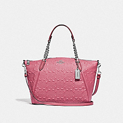 SMALL KELSEY CHAIN SATCHEL IN SIGNATURE LEATHER - F49317 - STRAWBERRY/SILVER