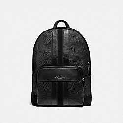 HOUSTON BACKPACK WITH BASEBALL STITCH - F49334 - BLACK/BLACK ANTIQUE NICKEL