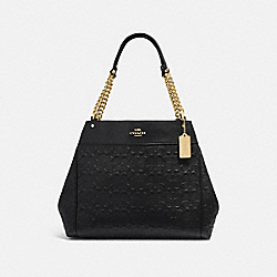 LEXY CHAIN SHOULDER BAG IN SIGNATURE LEATHER - F49336 - BLACK/IMITATION GOLD