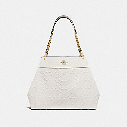 LEXY CHAIN SHOULDER BAG IN SIGNATURE LEATHER - F49336 - CHALK/GOLD