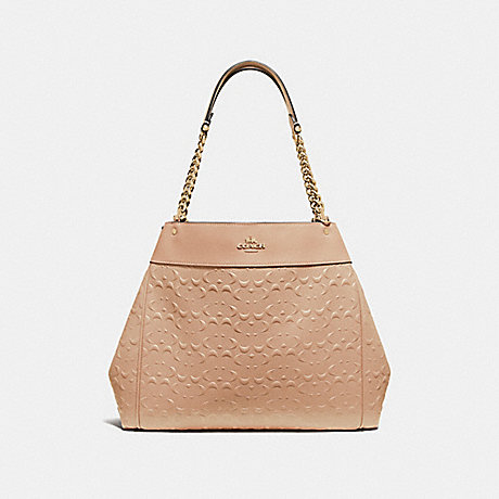COACH F49336 LEXY CHAIN SHOULDER BAG IN SIGNATURE LEATHER<br>蔻驰LEXY链肩袋子签名皮革 山毛榉/仿金