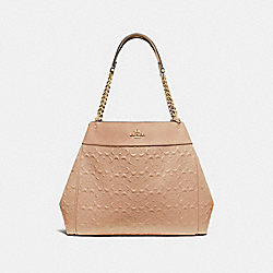 LEXY CHAIN SHOULDER BAG IN SIGNATURE LEATHER - F49336 - BEECHWOOD/IMITATION GOLD
