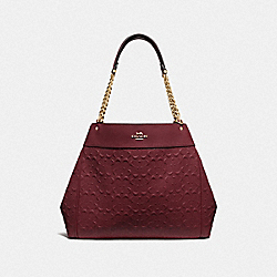 COACH F49336 Lexy Chain Shoulder Bag In Signature Leather WINE/IMITATION GOLD