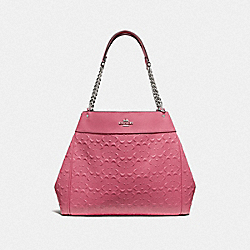 LEXY CHAIN SHOULDER BAG IN SIGNATURE LEATHER - F49336 - STRAWBERRY/SILVER
