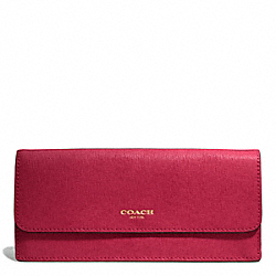 COACH F49350 Saffiano Leather New Soft Wallet BRASS/SCARLET