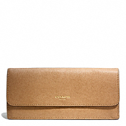 COACH F49350 Soft Wallet In Saffiano Leather BRASS/TOFFEE