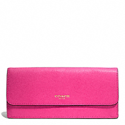 COACH F49350 Saffiano Leather Soft Wallet LIGHT GOLD/PINK RUBY