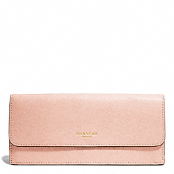 COACH F49350 Saffiano Leather Soft Wallet LIGHT GOLD/PEACH ROSE