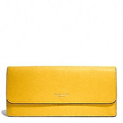 COACH F49350 Saffiano Leather Soft Wallet LIGHT GOLD/SUNGLOW