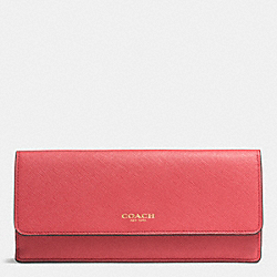 COACH F49350 Soft Wallet In Saffiano Leather LIGHT GOLD/LOGANBERRY