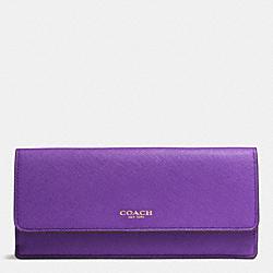 COACH F49350 Saffiano Leather Soft Wallet LIGHT GOLD/PURPLE IRIS