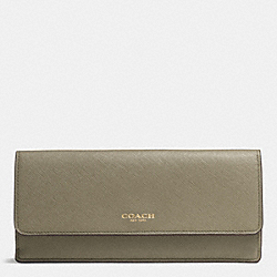 COACH F49350 Soft Wallet In Saffiano Leather  LIGHT GOLD/OLIVE GREY
