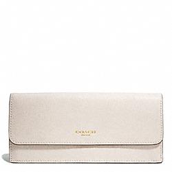 COACH F49350 Saffiano Leather Soft Wallet LIGHT GOLD/PARCHMENT