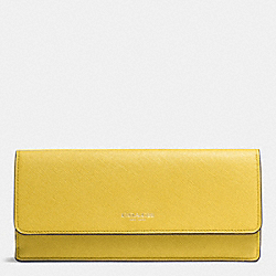 COACH F49350 Saffiano Leather Soft Wallet LIGHT GOLD/SAFFRON
