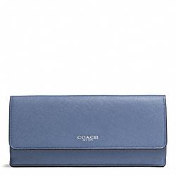 COACH F49350 Saffiano Leather Soft Wallet SILVER/CORNFLOWER