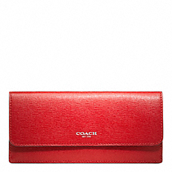 COACH F49350 Soft Wallet In Saffiano Leather SILVER/VERMILLION