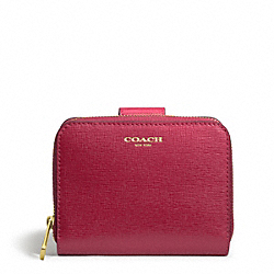 COACH SAFFIANO LEATHER MEDIUM ZIP AROUND - BRASS/SCARLET - F49352