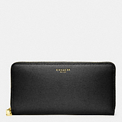 COACH F49355 Accordion Zip Wallet In Saffiano Leather  BRASS/BLACK