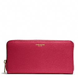 COACH F49355 Saffiano Leather Accordion Zip Wallet BRASS/SCARLET