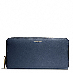 COACH SAFFIANO LEATHER ACCORDION ZIP WALLET - LIGHT GOLD/NAVY - F49355