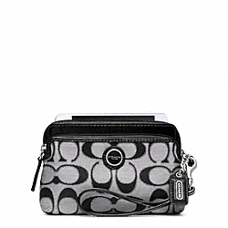 COACH F49360 Poppy Signature Sateen Metallic Double Zip Wristlet