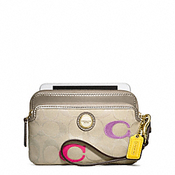 COACH F49362 Poppy Embroidered Signature Double Zip Wristlet