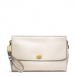 COACH F49375 - PINNACLE LEATHER ZIP CLUTCH WITH FLAP ONE-COLOR