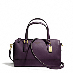 COACH F49392 Saffiano Leather Mini Satchel BRASS/BLACK VIOLET