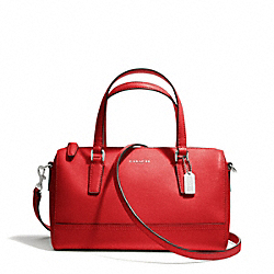 COACH F49392 Saffiano Leather Mini Satchel SILVER/VERMILLION