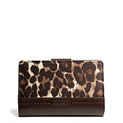 COACH F49429 Park Ocelot Print Medium Wallet BRASS/MAHOGANY MULTI