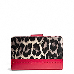 COACH F49429 Park Ocelot Print Medium Wallet SILVER/BLACK MULTI