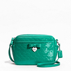 COACH F49430 - EMBOSSED LIQUID GLOSS MINI CAMERA BAG SILVER/BRIGHT JADE