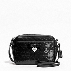 COACH F49430 - EMBOSSED LIQUID GLOSS MINI CAMERA BAG SILVER/BLACK