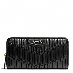 COACH F49444 Ashley Gathered Leather Zip Around BRASS/BLACK