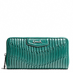 COACH F49444 Ashley Gathered Leather Zip Around SILVER/AEGEAN